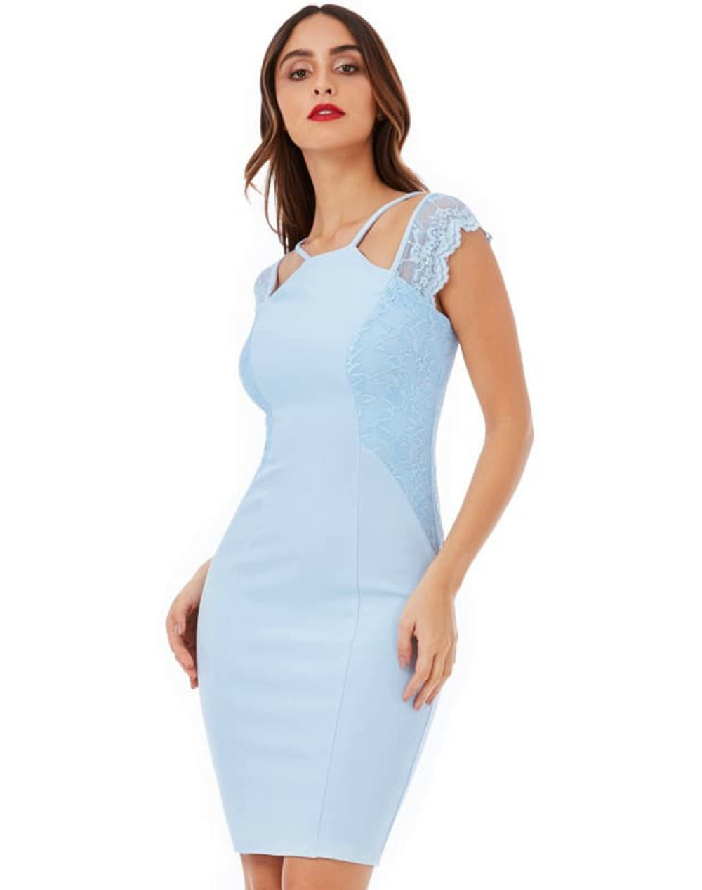 Sleeveless Midi Dress with Lace Detail - Dresses blue blue bodycon dresses blue dress blue dresses bodycon dress