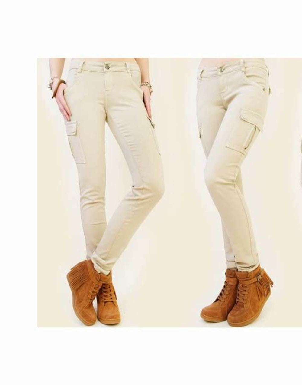 Women's Slim Fit Cargo Pants - Colour - Stone Combat Trousers has 6 pockets