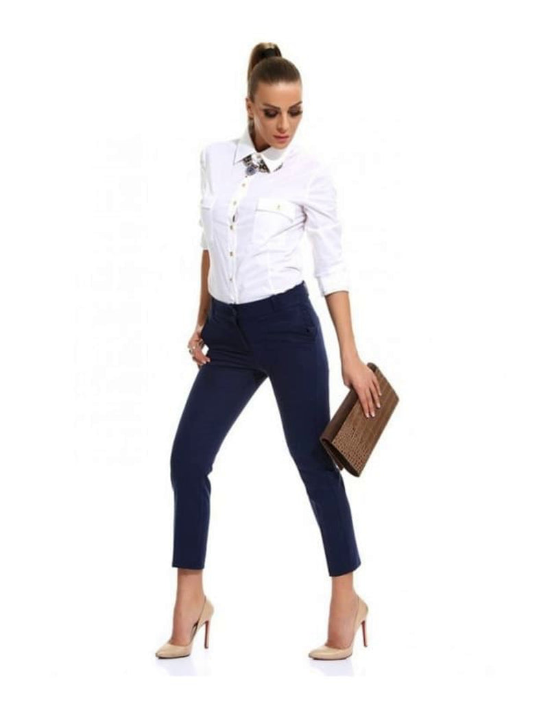 Slim Fit Navy Trousers for Women