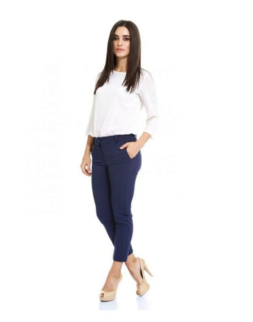 Slim Fit Navy Trousers - Trousers & Shorts blue, Blue Trousers, Cropped pant, cropped trouser, navy