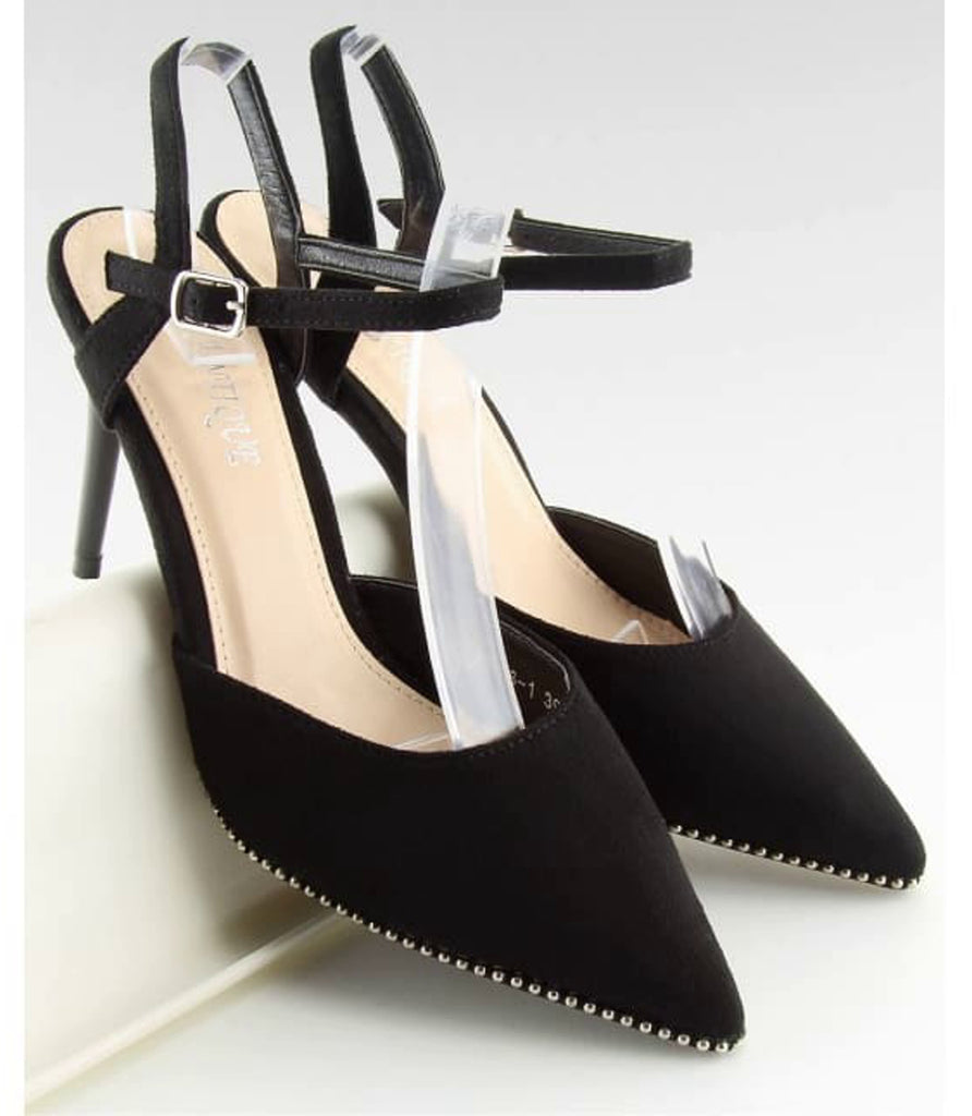 Slingbacks Heels Sandals - Footwear black, black footwear, black shoes, Court shoes, evening footwear