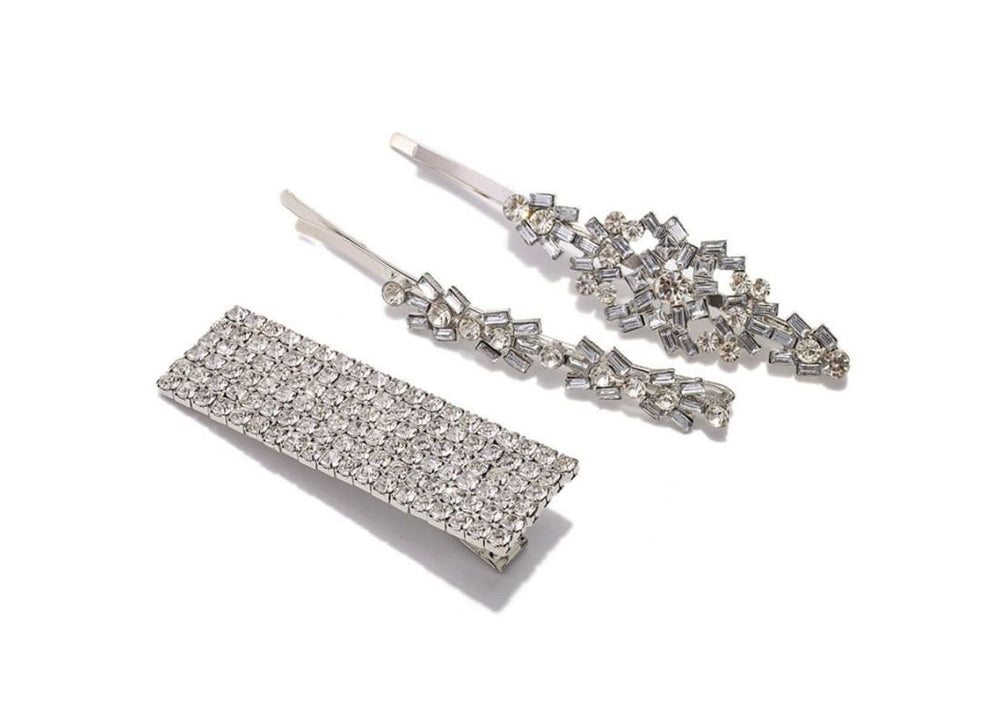 Sliver Rhinestone Rectangle Hair Slide Set of 3 - Silver - Hair Accessories Bags & Accessories Bridal Hair Accessories Hair Accessories Hair