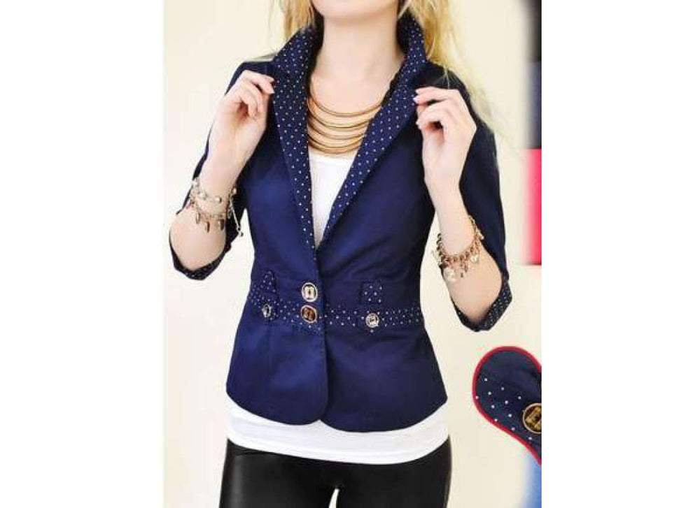 Smart Fitted Blazer - Coats & Jackets black Blazers coats & Jackets Navy blue pink