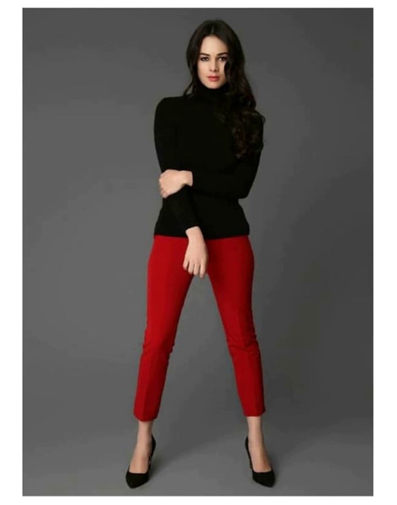 Smart Tapered Leg Trousers - Trousers & Shorts Burgundy, Cropped pant, cropped trouser, fitted trousers, maroon.