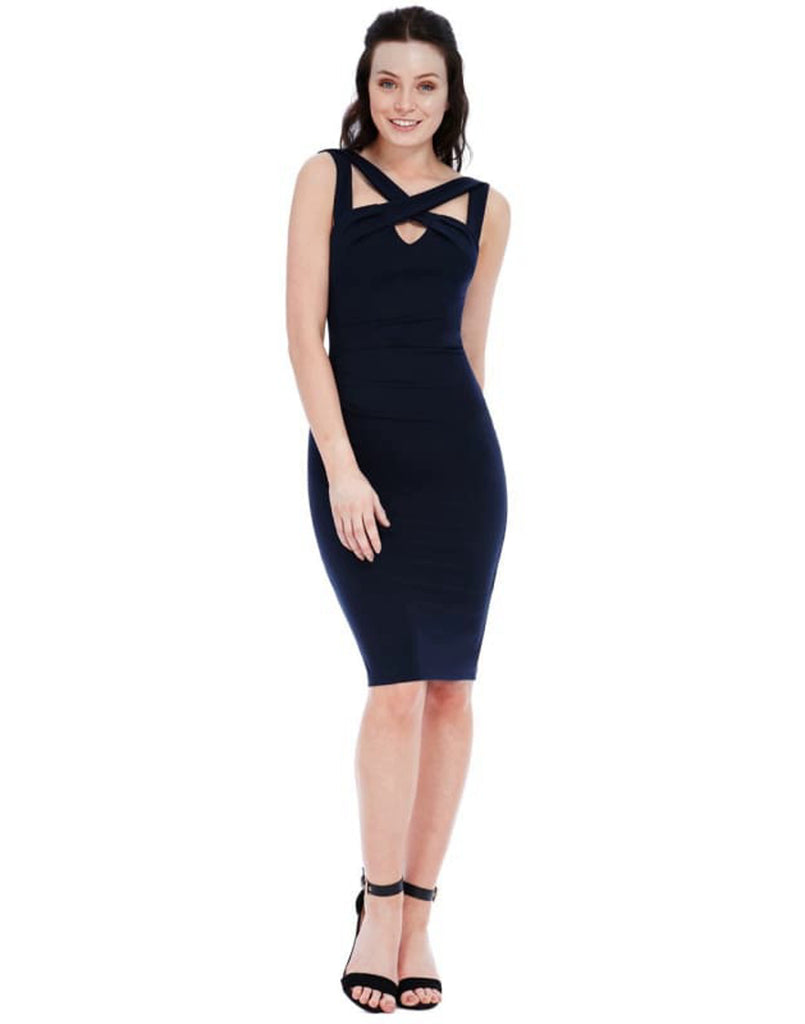 Strappy Cross Front Dress - Dresses blue bodycon dresses blue dress bodycon dress bodycon dresses bodycon midi dresses