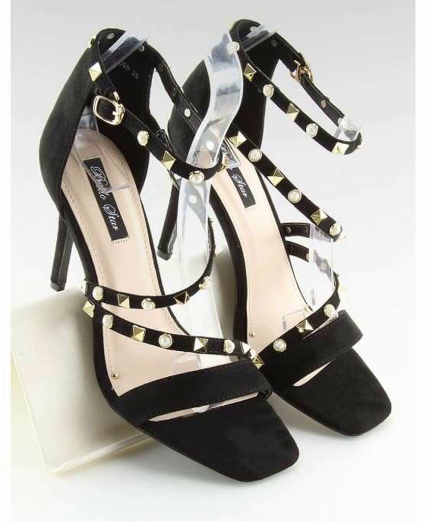 Strappy Heeled sandals - Footwear black, black sandals, black shoes, evening footwear, Footwear