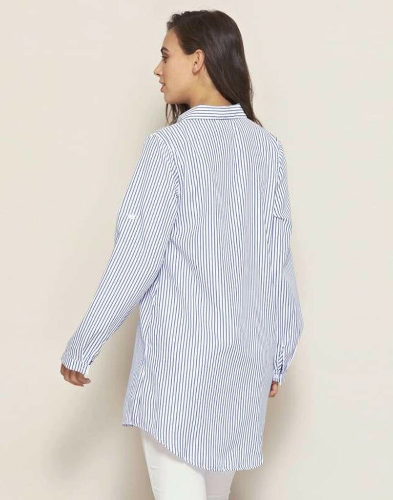 Stripe Embroidered Button Front Shirt - Blue / S - Plus Size Tops & Shirts blue blue stripe shirts pia stripe embroidered button front shirt