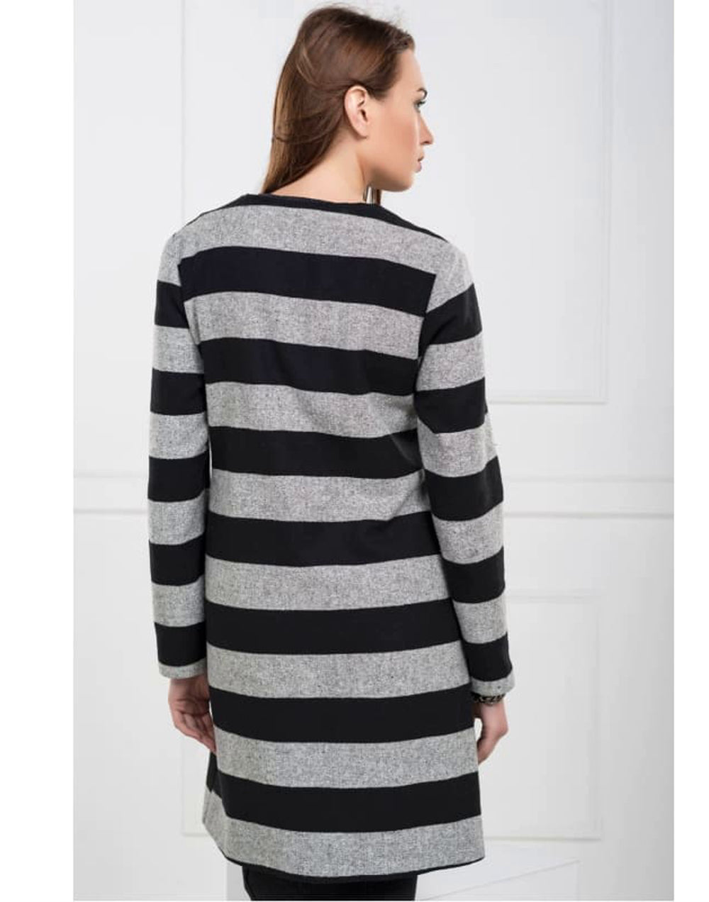 Stripe Midi Coat with Front Zip Panel - Back View