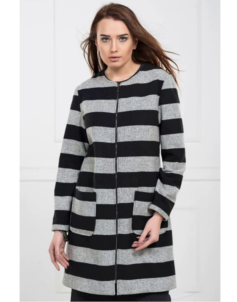 Stripe Midi Coat with Front Zip Panel