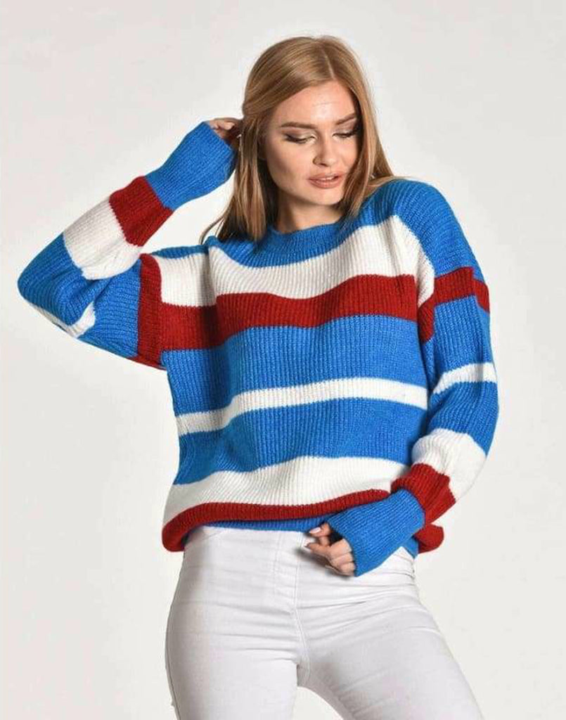 Stripe Ribbed Chunky Sweater - UK 8 -16 - Knitwear cardigan chunky sweater Multi coloured jumper plus size plus size clothing