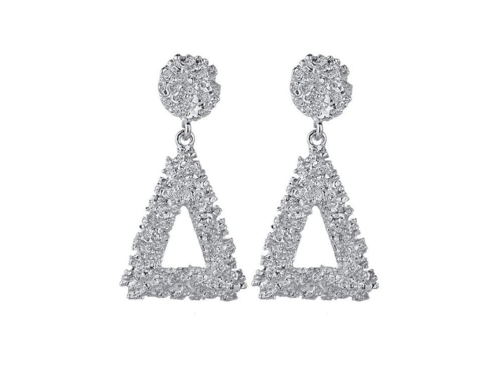 Textured Triangle Drop Earrings -  Silver  3D Shape  Circle Stud Earrings