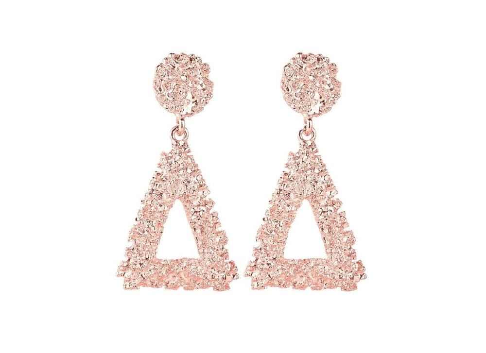 Textured Triangle Drop Earrings -  Rose Gold  3D Shape  Circle Stud Earrings