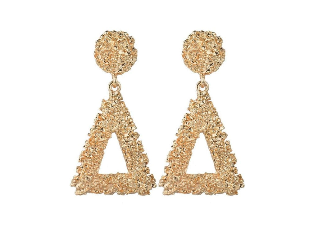 Textured Triangle Drop Earrings -  Gold  3D Shape  Circle Stud Earrings