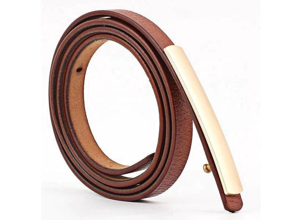 Thin Leather Belt with Metal Buckle - Belts Bags & Accessories Belts black belts brown belts camel