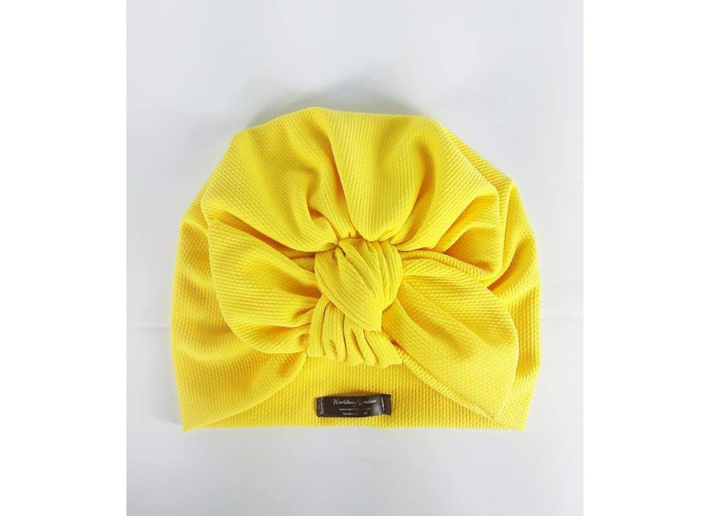 Top Knot Bow Turban - One Size / Yellow - Women's Turban,Chemo Hat, Headwear, Head Wrap