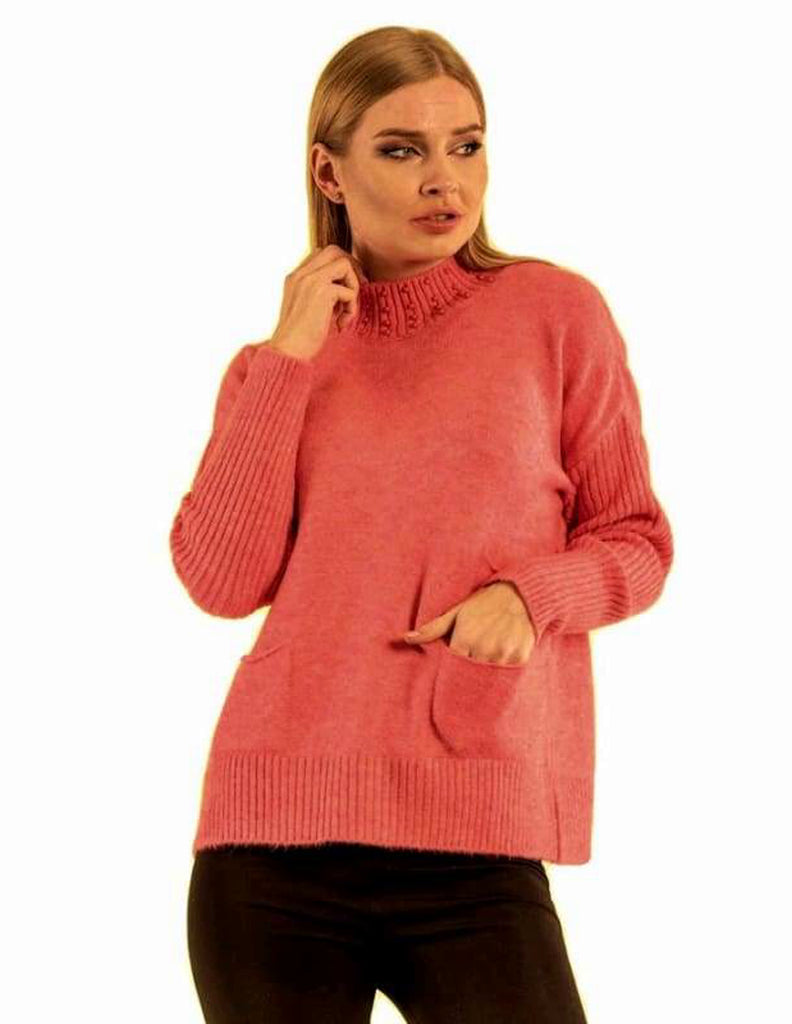 Turtle Neck Front Pocket Cropped Sweater - Knitwear Cropped Jumper Fitted jumper High Neck Jumper knitwear knitwear top