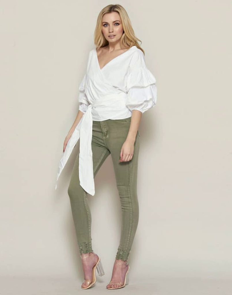 V Neck Tie Front Ruffle Sleeve Wrap Top - Tops & Shirts alicia roddy alicia roddy inspired tops alicia roddy inspired v neck tie front top