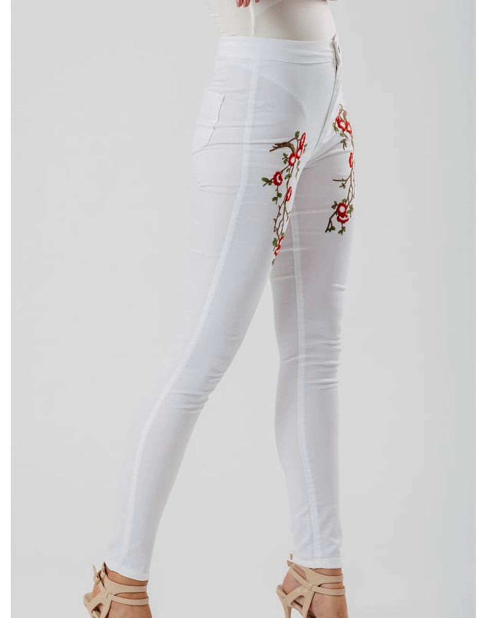 White Floral Embroidered Skinny Jeans - Jeans & Jeggings embellished jeans embroidered skinny jeans fitted trousers floral embroidered jeans