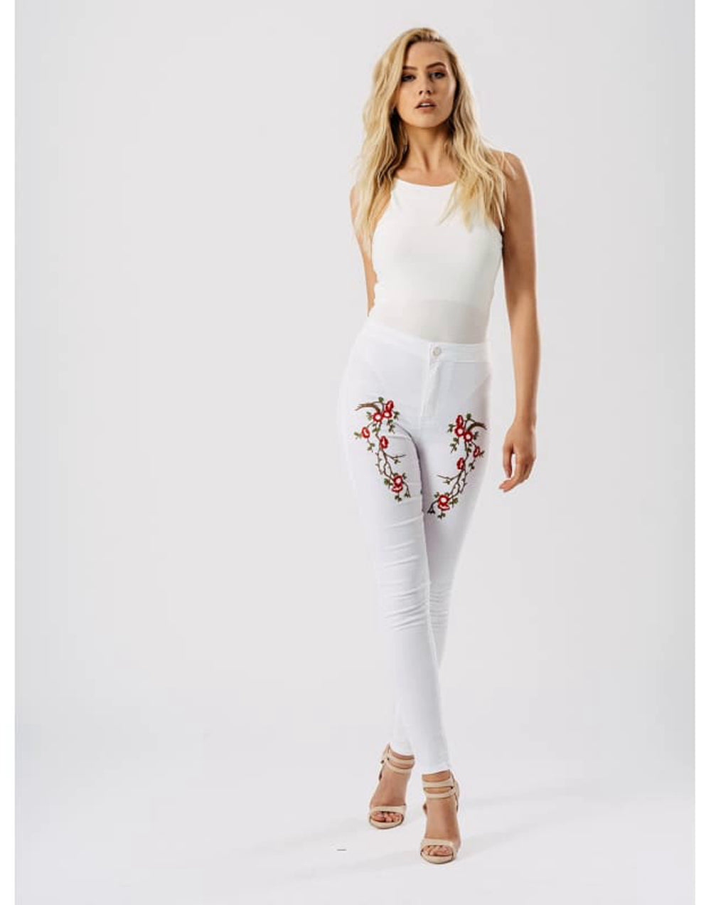 White Floral Embroidered Skinny Jeans - 10 / White - Jeans & Jeggings embellished jeans embroidered skinny jeans fitted trousers floral  Edit alt text