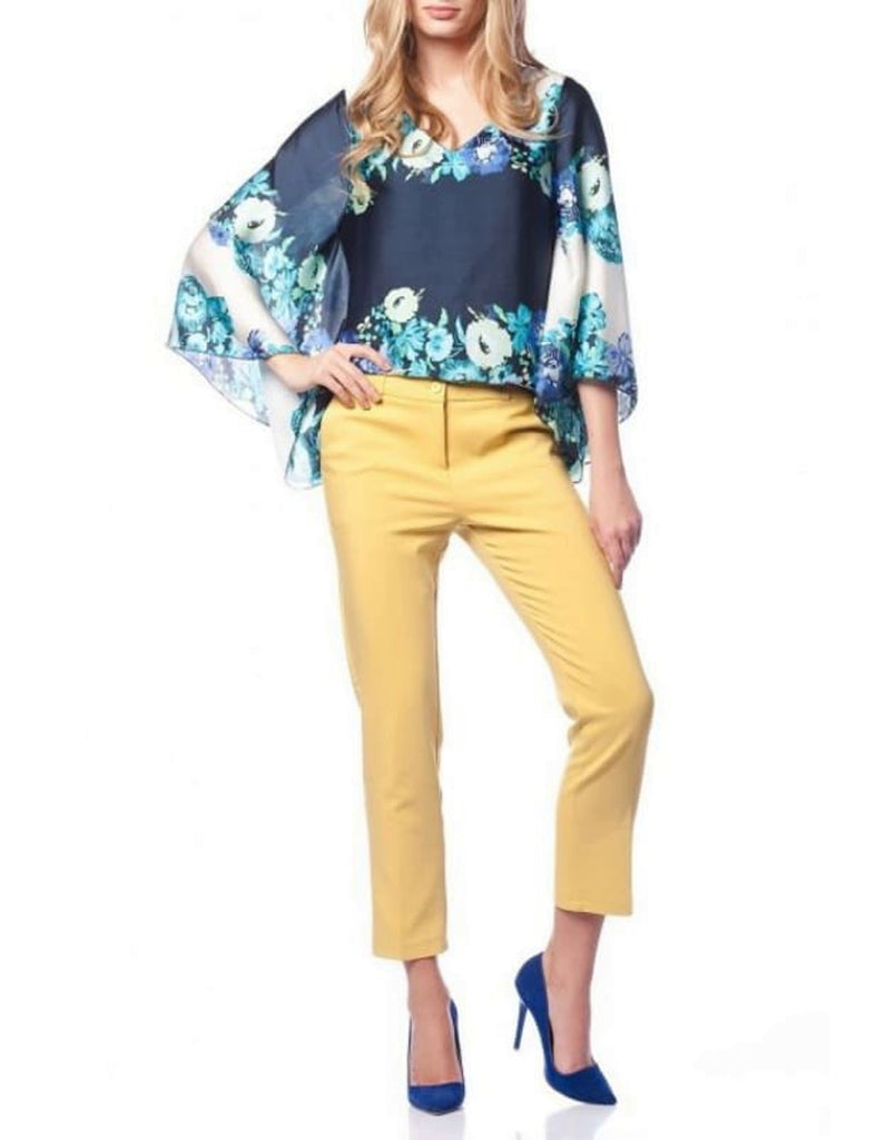 Yellow Tapered Trousers-women's pants cropped trousers front view plus size trouser yellow trouser