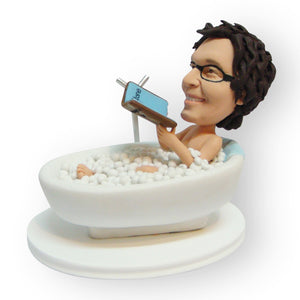 Reading in the Bathtub Personalised Mini Figurine