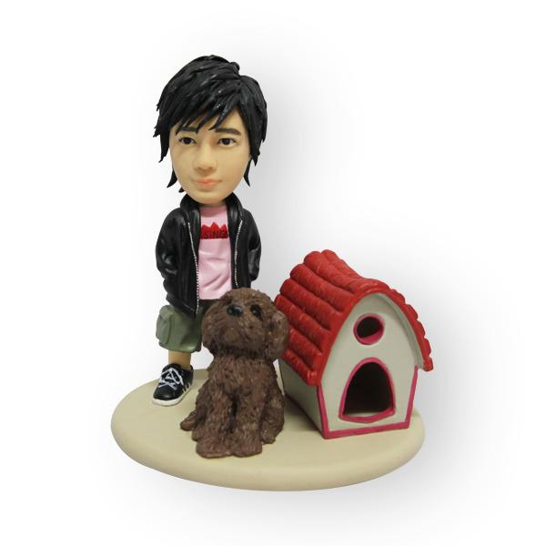 Boy with pet custom figurine