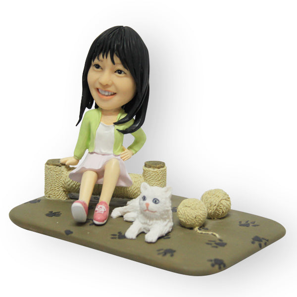A Girl And Her Cat Figurine