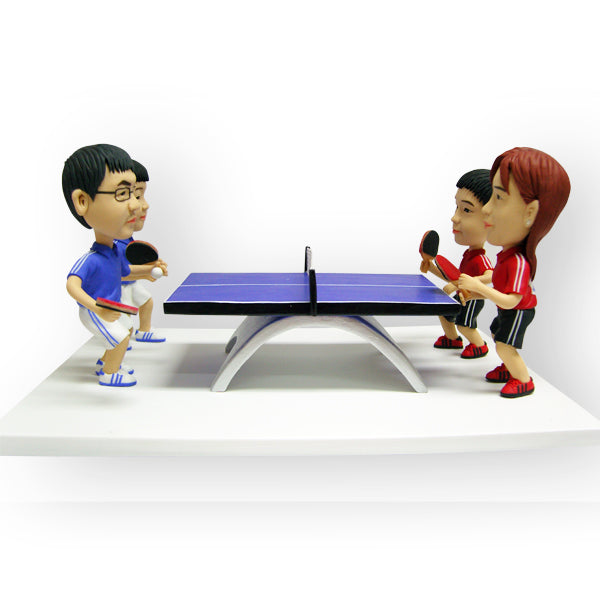 Table Tennis Ping Pong Match Group Figurine