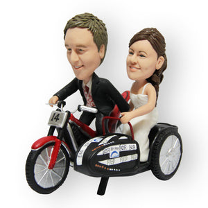 Bike Sidecart Wedding Cake Topper Figurine