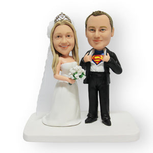 Bride And Superman Wedding Cake Topper Figurine
