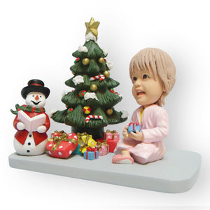 Girl Sitting At Christmas Tree Figurine