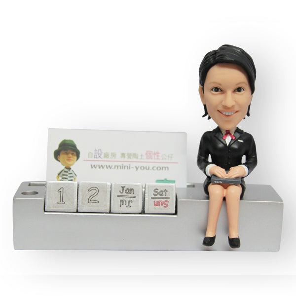 Office Desk Pen And Card Holder Female Figurine