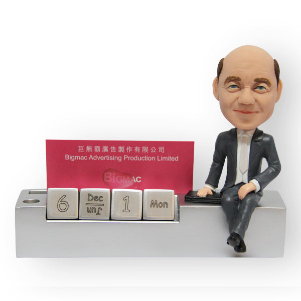 Office Desk Pen And Card Holder Male Figurine