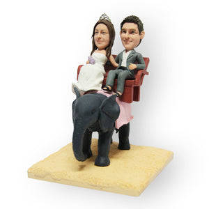 Elephant Riding Wedding Cake Topper Figurine
