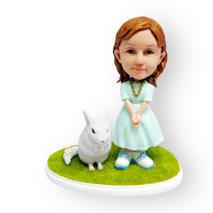 Girl And Her Pet Chinchilla Figurine