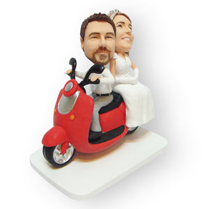 Married Couple On Scooter Cake Topper Figurine