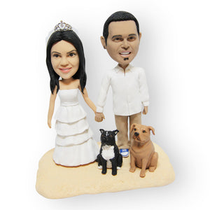 Married Couple With Pets Cake Topper Figurine