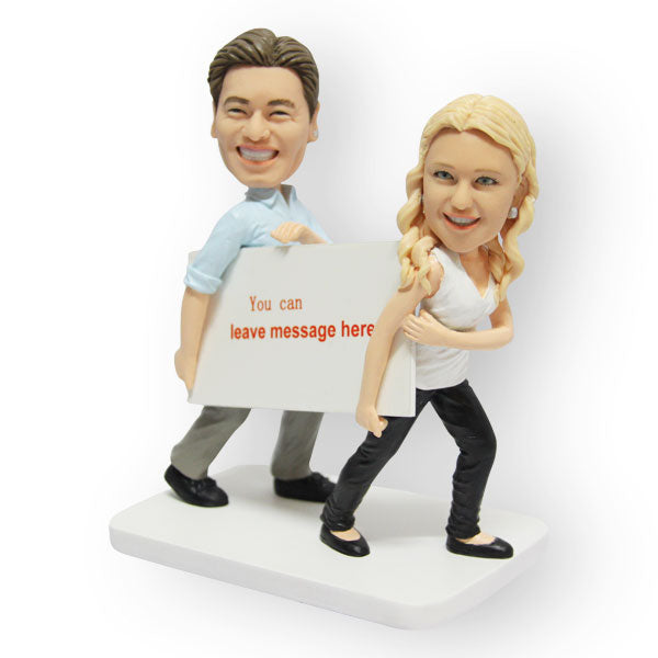 Message Board Couple Figurine