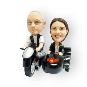 Motorbike Sidecart Couple Figurine