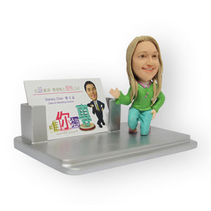 Name Card Holder Female Figurine
