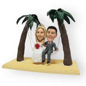 Palm Trees Hammock Wedding Cake Topper Figurine