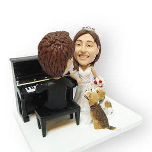 Piano And Pets Wedding Cake Topper Figurine