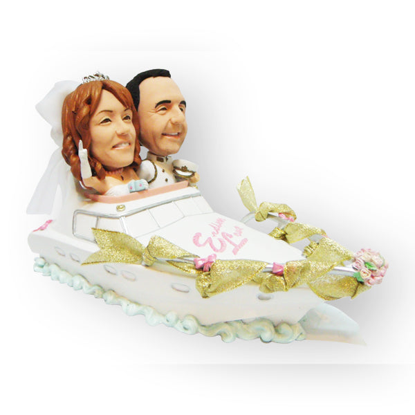 Racing Away In The Speedboat Wedding Cake Topper Figurine
