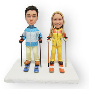 Skiing Couple Figurine