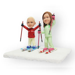 Skiing Kids Figurine