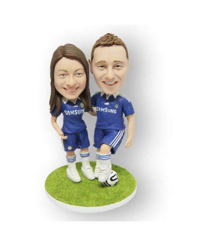 Soccer Couple Blue Custom Figurine