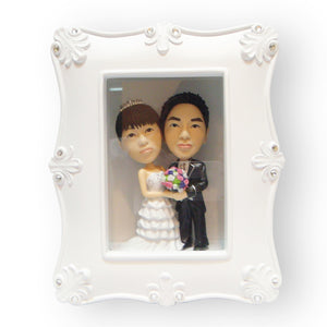 White Photo Frame Wedding Figurine with Swarovski