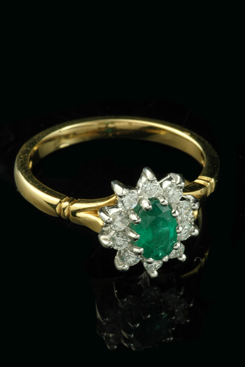 f903e0ed634ea Beautiful 18ct yellow and white gold Emerald and Diamond cluster ring