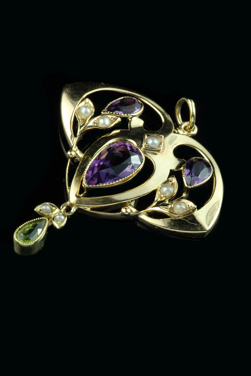 50e35eb9e29dba Lovely 9ct yellow gold Amethyst, Peridot and seed pearl Suffragette pendant