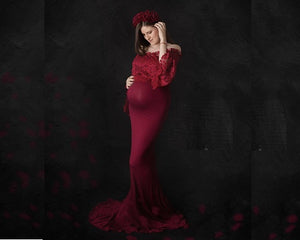 G208(2),  Wine Os Full Sleeves Maternity Shoot Trail Baby Shower Gown, Size (XS-30 to XL-40)